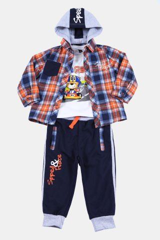 Πορτοκαλί βρεφικό σετ για Αγόρι, με καρό πουκάμισο