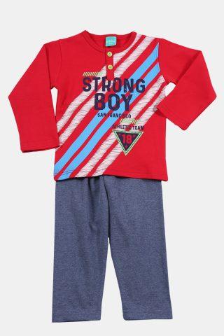 παιδικές πιτζάμες με γκρι παντελόνι και κόκκινη μπλούζα
