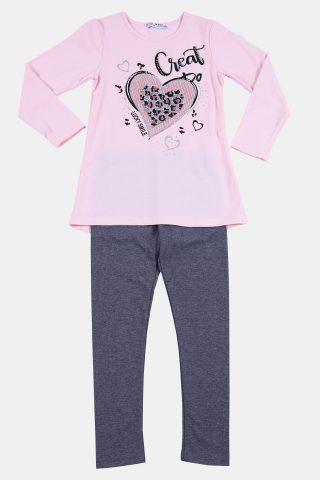 παιδικό σετ ροζ με καρδιά και γκρι κολάν