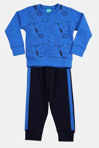 πυτζάμα παιδική με μαύρο παντελόνι και μπλε ραφ μπλούζα