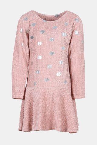 ροζ φόρεμα παιδικό με ασημί πουά