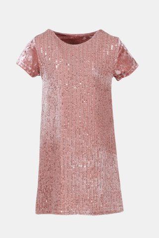 ροζ παιδικό φόρεμα με παγιέτες