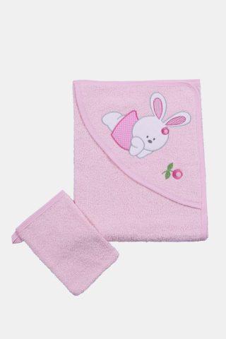 βρεφική πετσέτα με κουκούλα και κέντημα αρκουδάκι