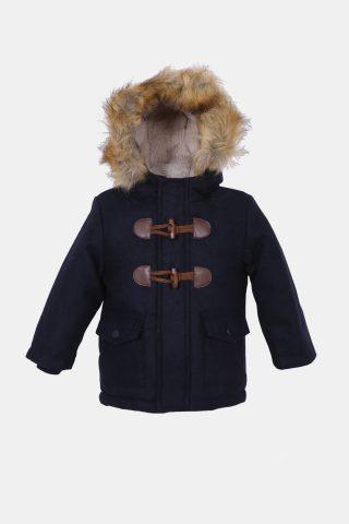 βρεφικό παλτό για αγόρια με κουκούλα