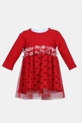 κόκκινο βρεφικό φόρεμα με τούλι
