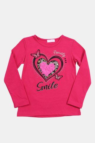 παιδική μπλούζα φούξια με τύπωμα καρδιά