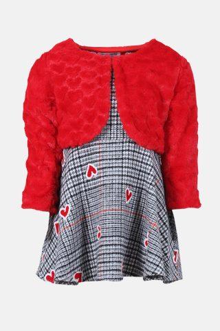 βρεφικό φόρεμα καρώ με κόκκινο μπολερό