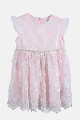 Παιδικό Αμάνικο Φόρεμα για Κορίτσια Κεντητό Τούλι και Πούλιες σε Ροζ Χρώμα