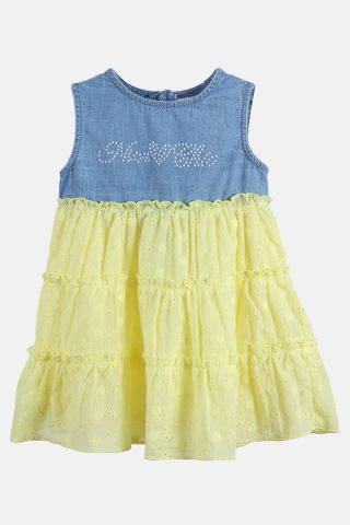 Βρεφικό Τζιν Φόρεμα με Ποπλίνα Κεντημένη Κηπούρ σε Κίτρινο Χρώμα για Κορίτσια