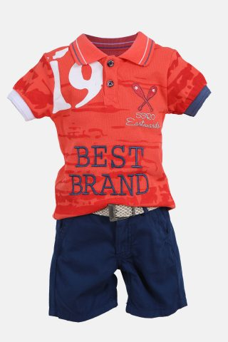 Παιδικό Σετ για Αγόρια με Μπλούζα Πορτοκαλί και Βερμούδα