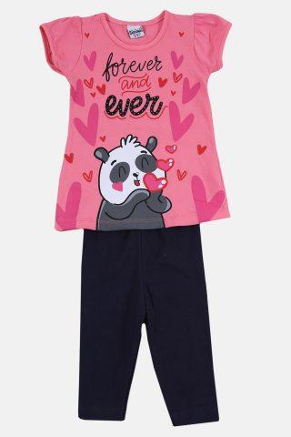 Παιδικό Σετ για Κορίτσια με ροζ μπλούζα και παντελόνι μαυρο καπρι