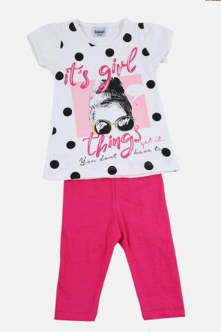Παιδικό Σετ για Κορίτσια με Λευκή Μπλούζα με Τύπωμα και Ροζ Πανετλόνι Καπρί
