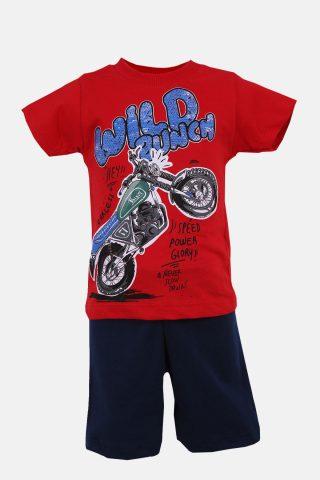 Παιδικό Σετ με Κόκκινη Μπλούζα με Τύπωμα Μηχανής και Μαύρο Σορτσάκι