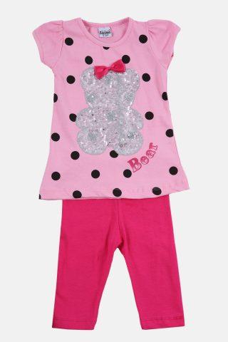 Παιδικό Σετ για Κορίτσια με Κοντομάνικη Μπλούζα και Καπρί Παντελόνι σε Ροζ Χρώμα