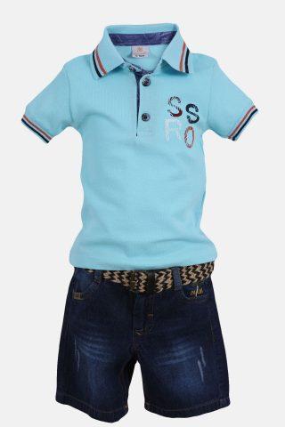 Παιδικό Σετ για Αγόρια με Μπλούζα πικέ με γιακά πόλο και βερμούδα τζην με ζώνη