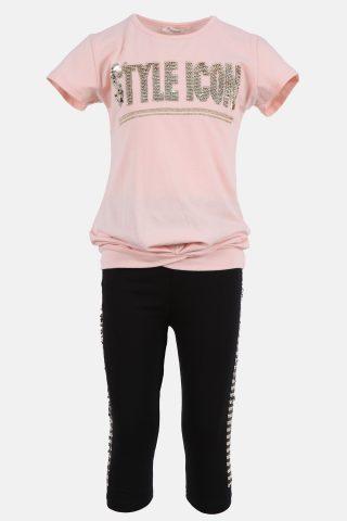 Παιδικό Σετ για Κορίτσια με Ροζ Μπλούζα & Καπρί Μαύρο Παντελόνι