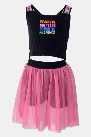 φούξια σετ για κορίτσια με τουλινη φούστα και σορτς