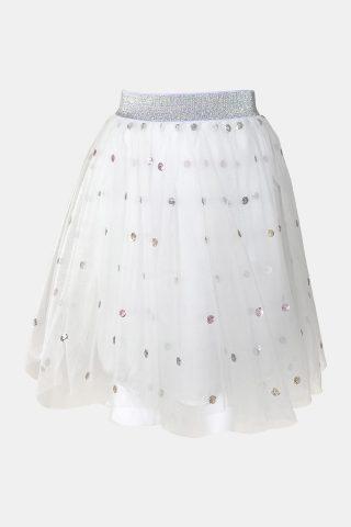 παιδική φούστα λευκή με τούλι και γκλίτερ