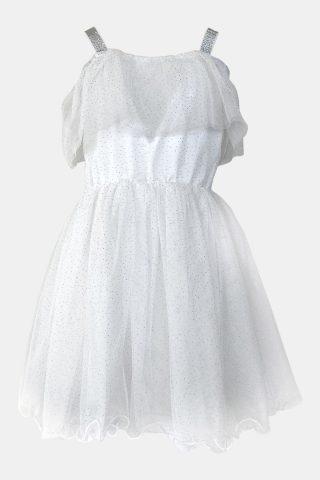 λευκό φόρεμα για κορίτσια με γκλίτερ