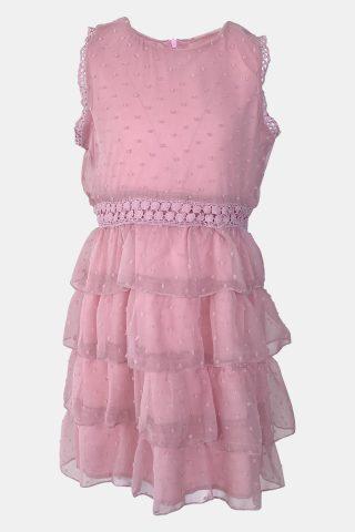 ροζ φόρεμα κοριτσι, με βολάν