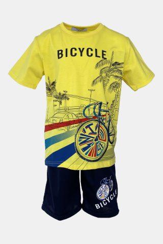 σετ μακό για αγόρια σε κίτρινο χρώμα με τύπωμα ποδήλατο