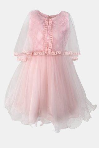 παιδικό φόρεμα ροζ με εσάρπα