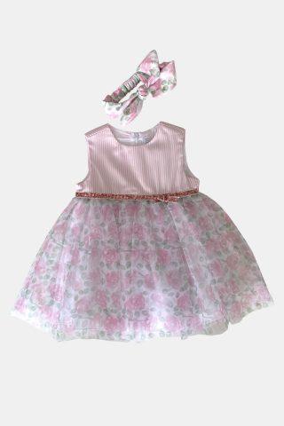 βρεφικό φόρεμα εμπριμέ με κορδέλα